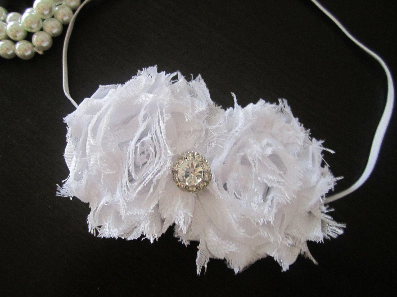 Hair Accessories White Shabby Flower Headband Wedding Bridal
