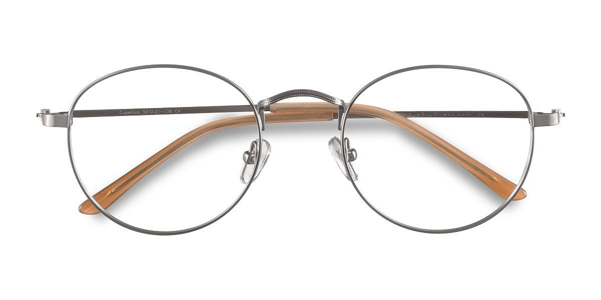 Silver Round Prescription Eyeglasses Large Full Rim Metal Eyewear