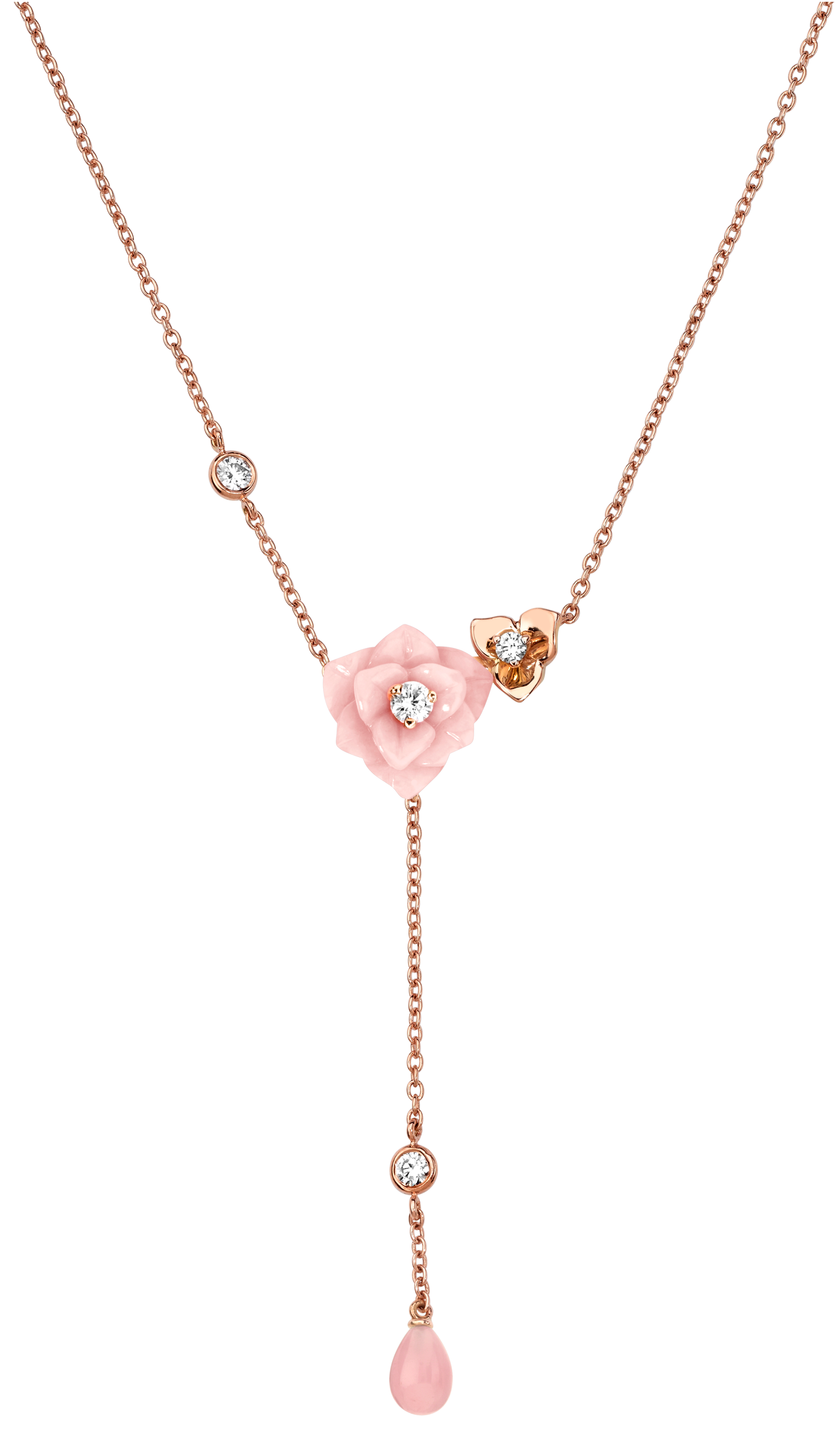 Piaget Pink Tourmaline & Diamond Rose Y-Drop Necklace ZeZ1tmvV