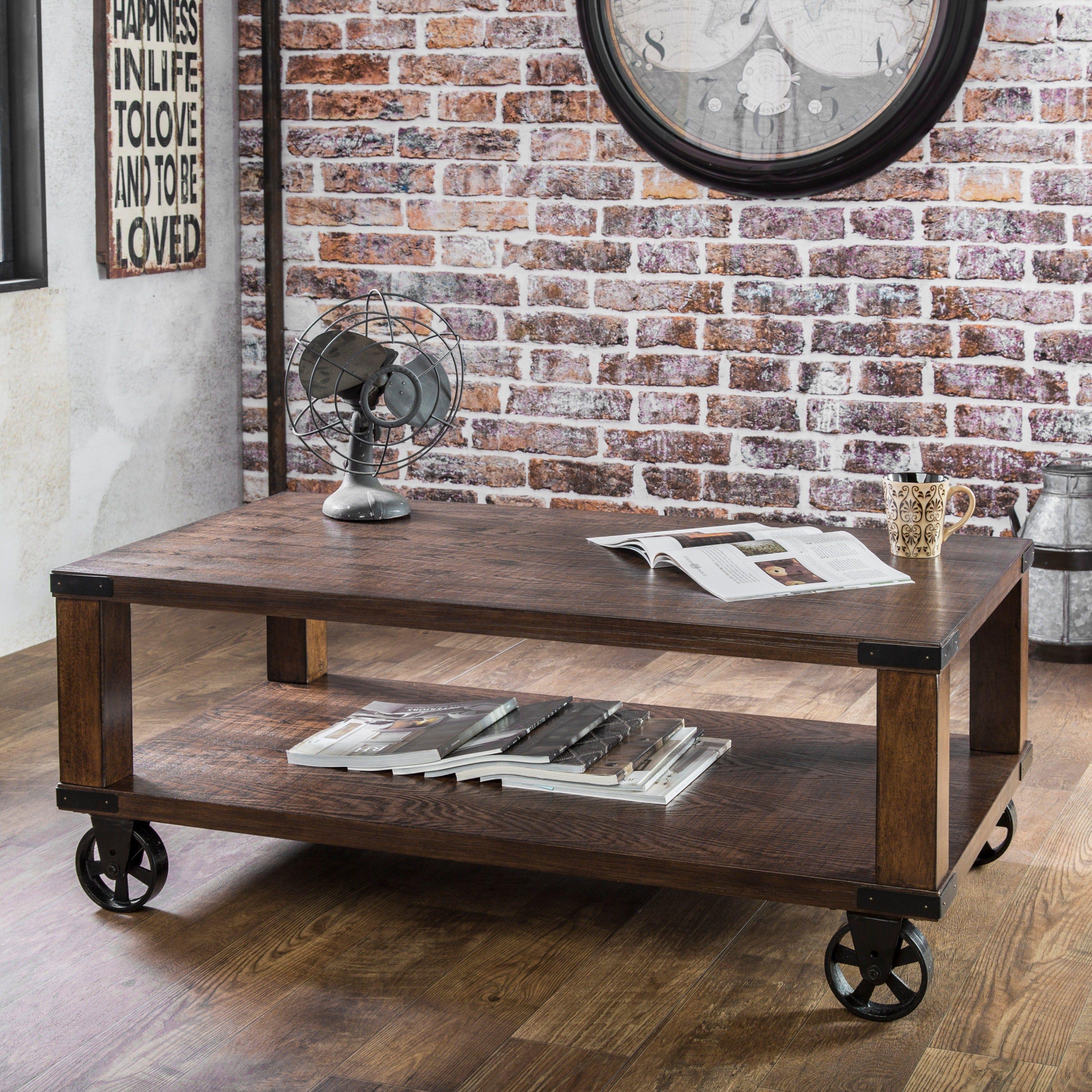Industrial End Table With Drawer Furniture Of America Royce Modern Coffee Dark