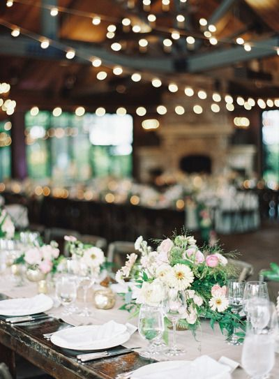 Rustic wedding tables: http://www.stylemepretty.com/little-black-book-blog/2015/01/16/rustic-elegance-at-old-edwards-inn/ | Photography: Natalie Watson - http://www.nataliewatsonphotography.com/