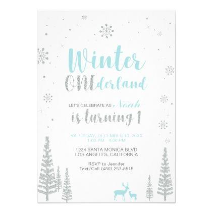 #Winter Onederland 1st Birthday Invitation - Boy - #birthday #invitations