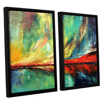 "Latitude Run 'Aurora' by Michael Creese 2 Piece Framed Painting Print on Canvas Set Size: 24"" H x 36"" W x 2"" D"