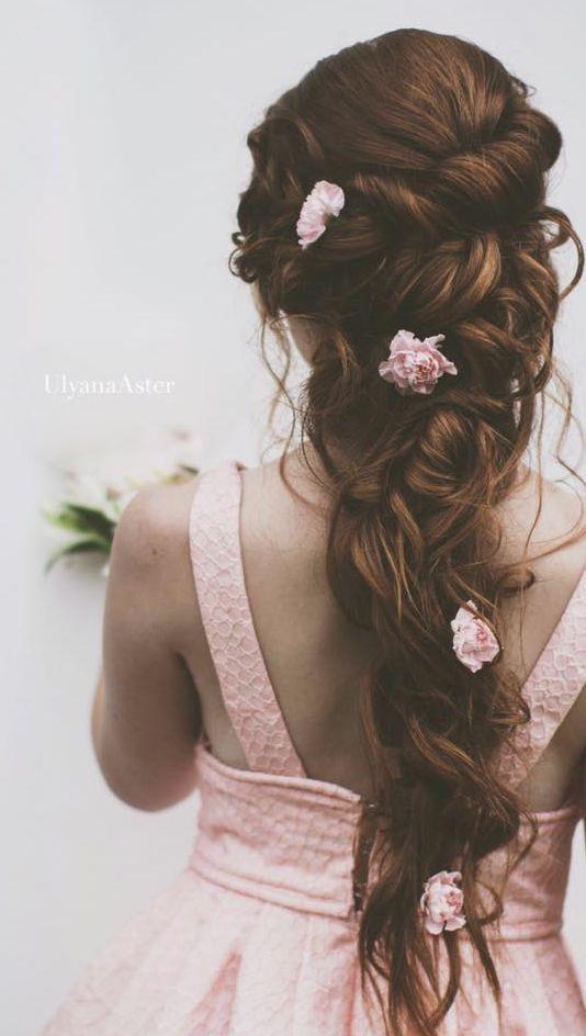 Mermaid Hairstyles Ulyana Aster Long Wedding Hairstyle With Flowers  Mermaid
