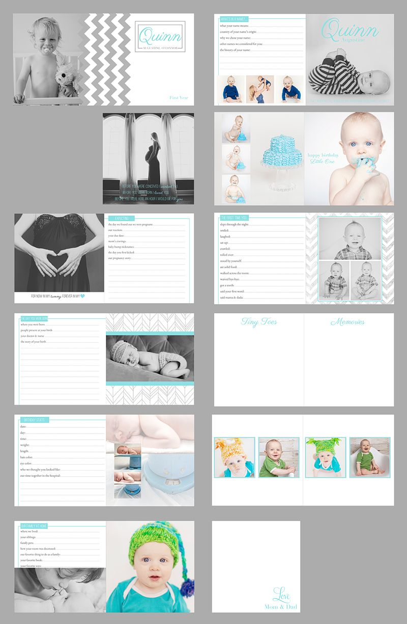 maternity and baby album template - baby book - customize for boy ...