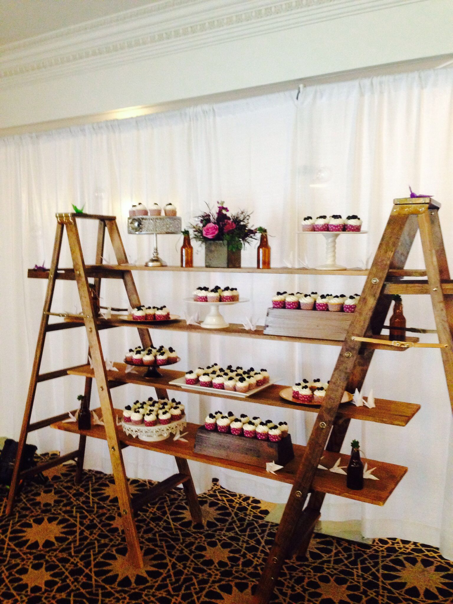 Cupcake Ladder!! A fun way to display your deserts. Ladder shelves by Farm