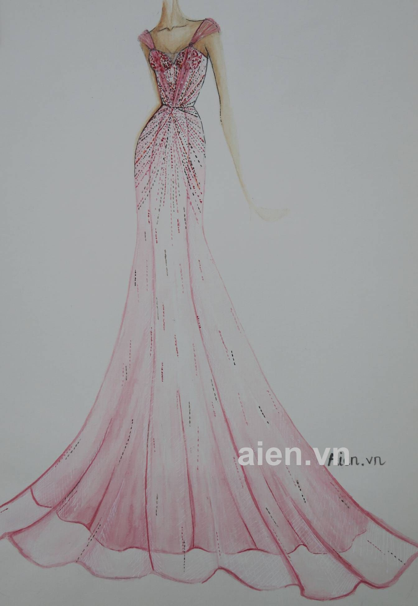 Pink dress drawing  Mẫu phác thảo A  fashion drawing  Pinterest  Fashion