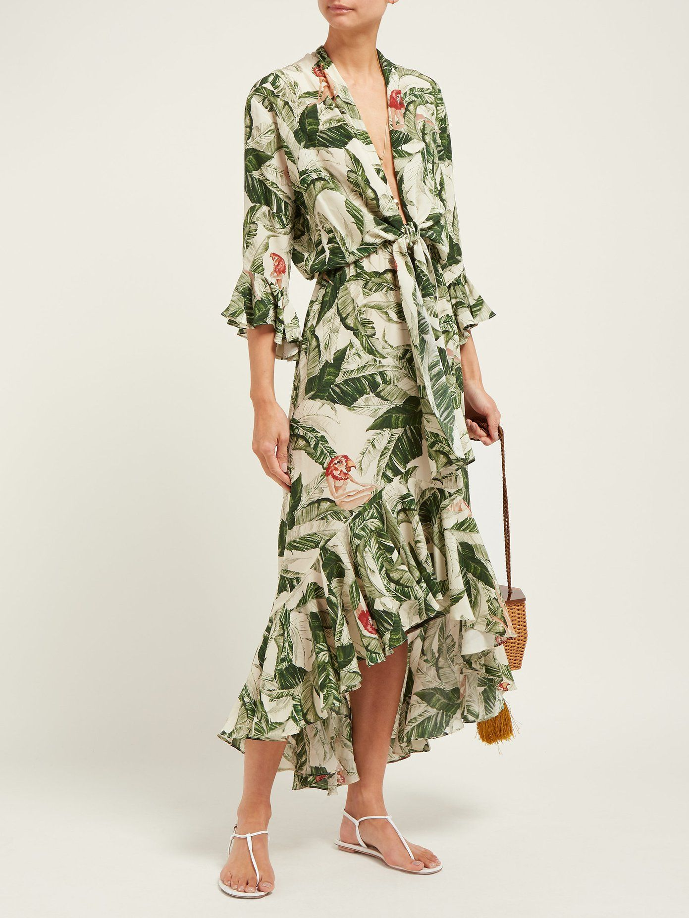 8dad9811a7 Tropical-print knotted silk dress | Adriana Degreas x Cult Gaia |  MATCHESFASHION.COM