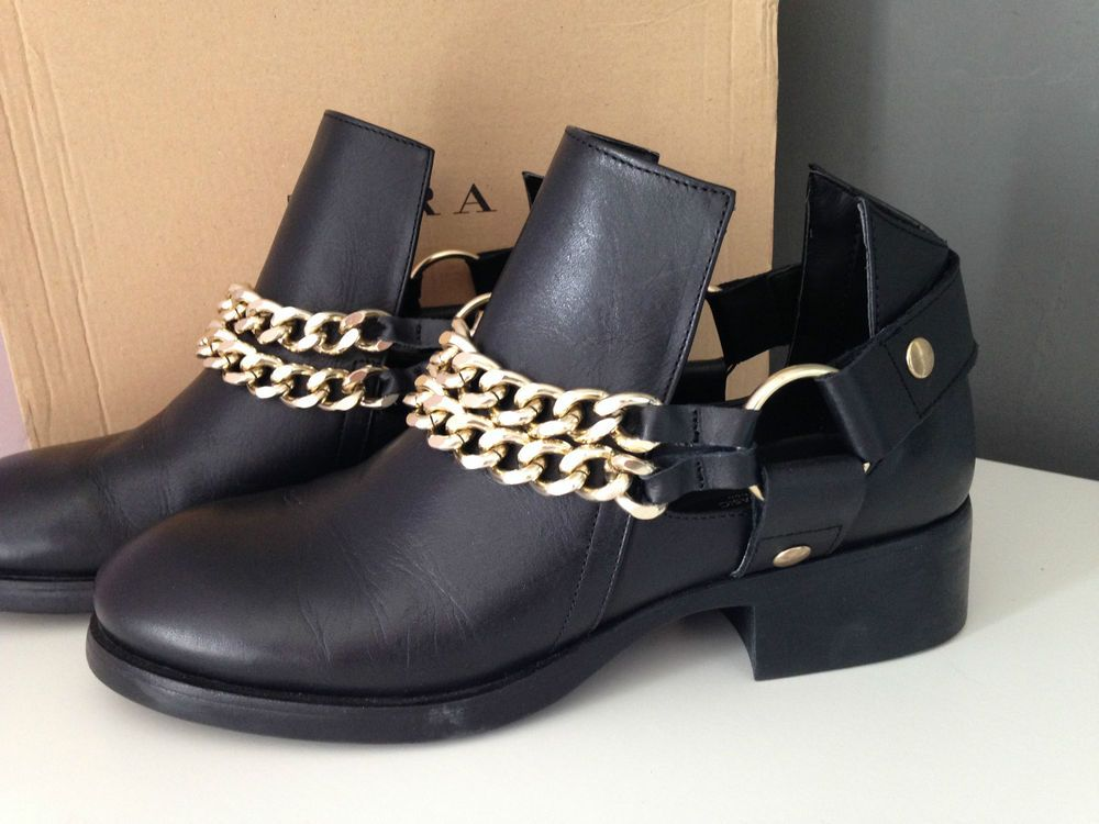 79ebb9e97c8 ZARA GENUINE LEATHER CUT OUT ANKLE BIKER BOOTS WITH CHAINS SIZE UK 5 ...