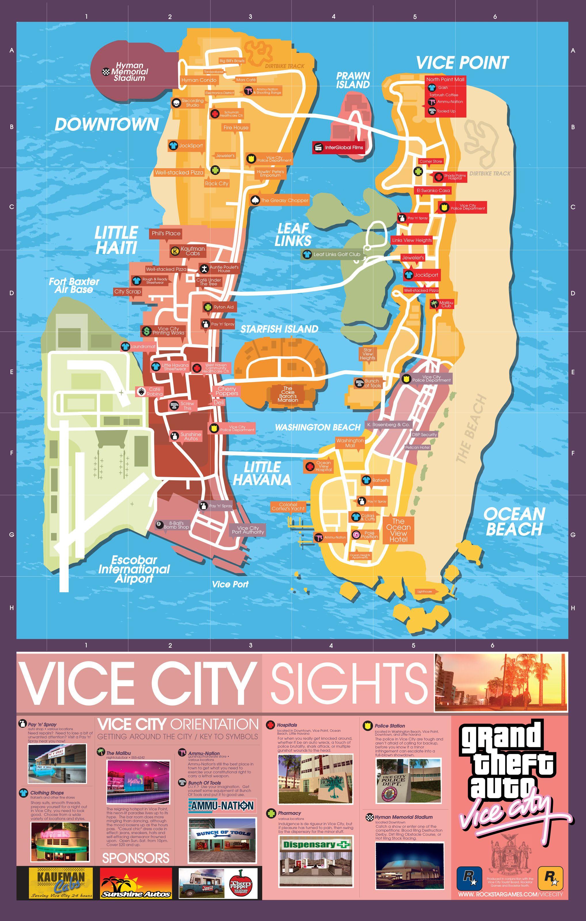 Gta Vice City Map Grand Theft Auto Grand Theft Auto Series Gta