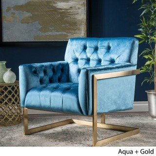 Wylie Modern Tufted Velvet Club Chair By Christopher Knight Home
