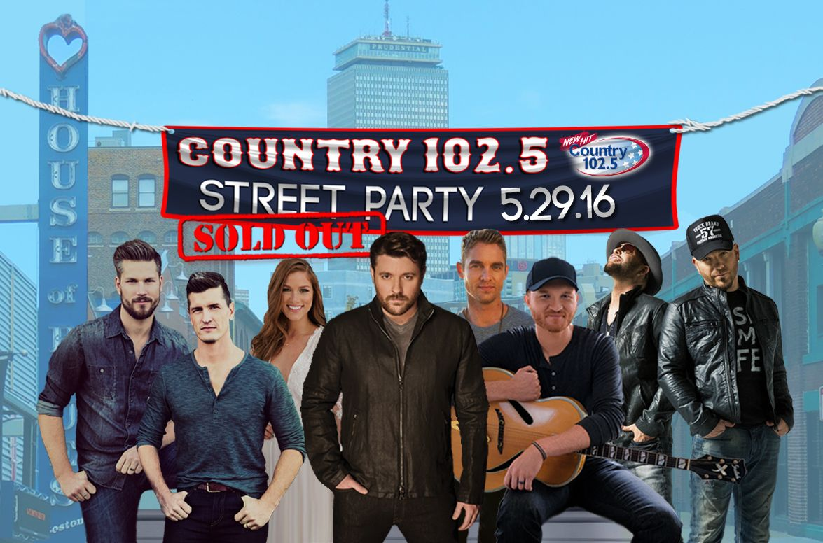 The day has arrived! The Country 102.5 Street Party is here! We couldn't be more excited to hang with 8,000 of our closest friends on Lansdowne Street today for a SOLD OUT show! We've got Brett Young, High Valley, Cassadee Pope, LOCASH, Eric Paslay and Chris Young all taking the stage this afternoon. Make sure you…