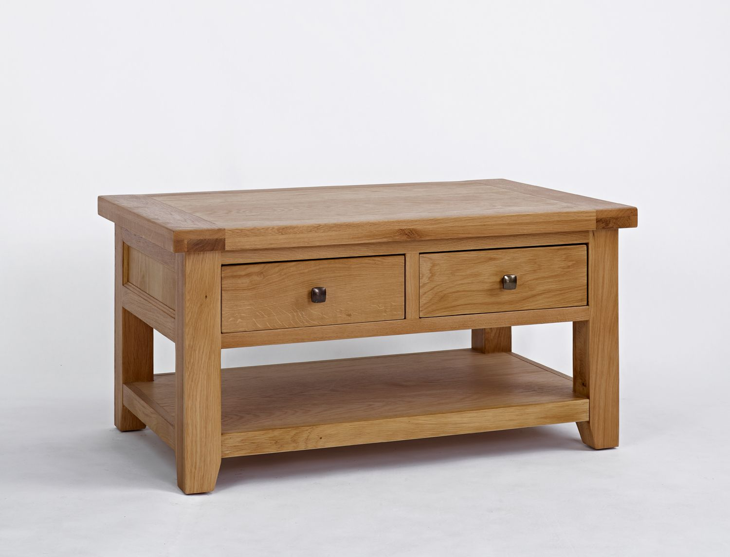 Devon Oak 2 Drawer Coffee Table Is Presented In A Protective Light Lacquer Which