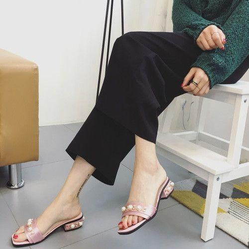 a288e747e78fb9 2017 Spring Silk Womens Slippers Shoes Luxurious Beading Low Heels Women  Sandals Mules Slip On Slides Stilettos Summer