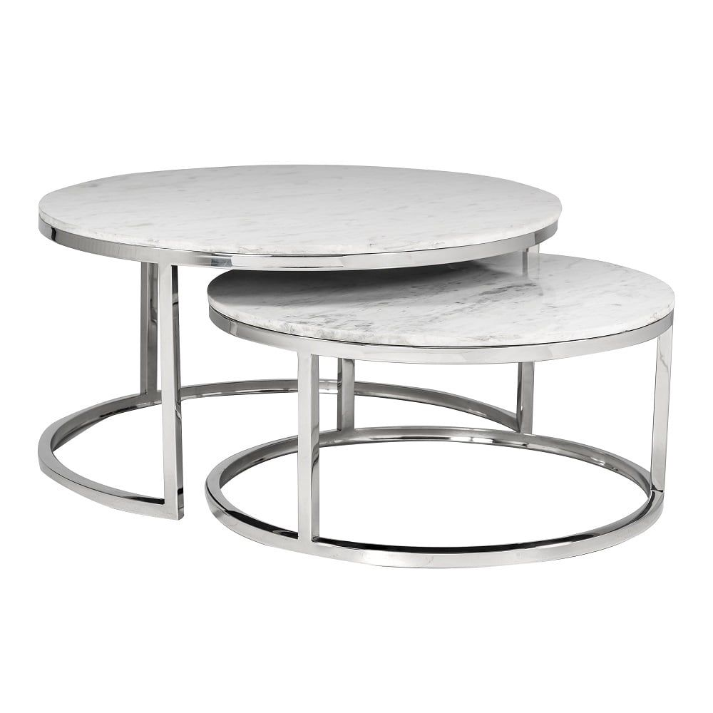Levanto Marble And Chrome Set Of 2 Coffee Table In 2020 Marble