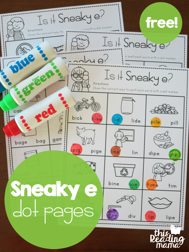 Sneaky E Dot Pages Free  Word Work Activities Word Work And