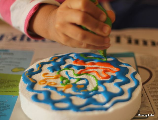 puffy paint painting and marbling