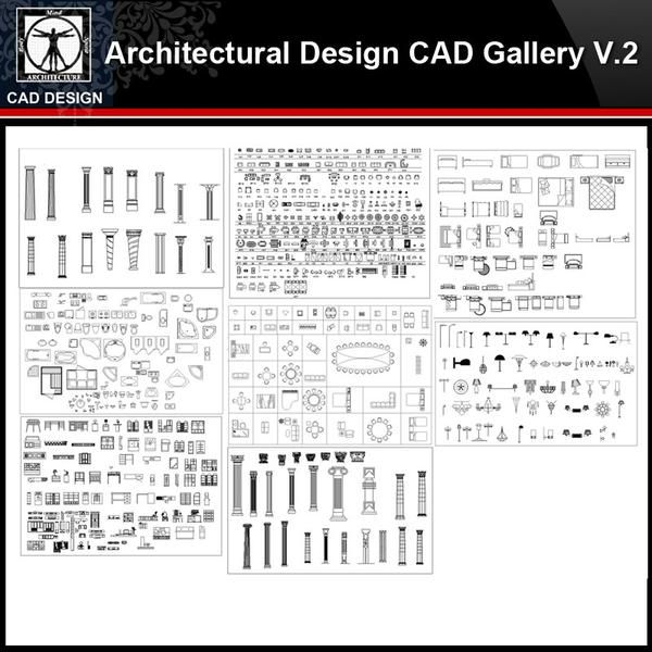 ★【Architectural Design Gallery Autocad Drawings V 2】All Decoration elements Bundle