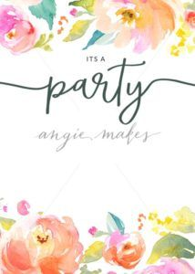 Blank Party Invitation With Watercolor Flower Border Angie Makes