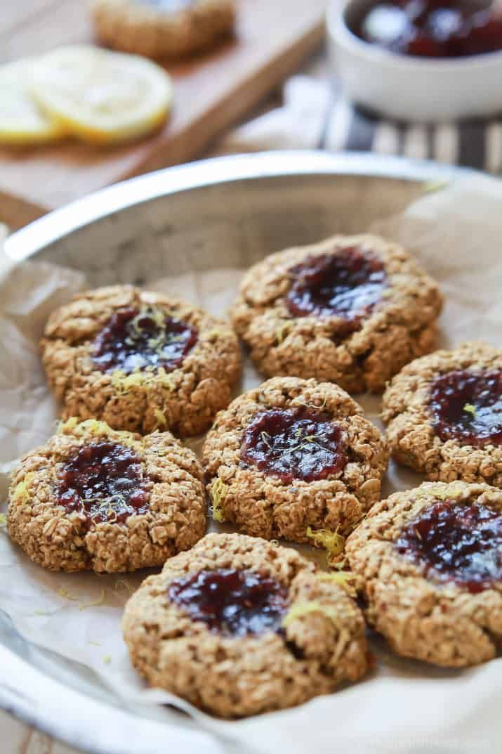 You're only 10 ingredients away from these healthy and yummyFlourless Lemon Raspberry Thumbprint
