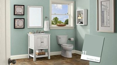 Behr Paint Smokey Slate Small Bathroom Colors Small Bathroom Paint Bathroom Color Schemes