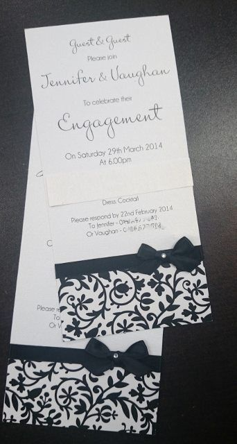 Handmade Dl Black  White Theme Engagement Invitation Email