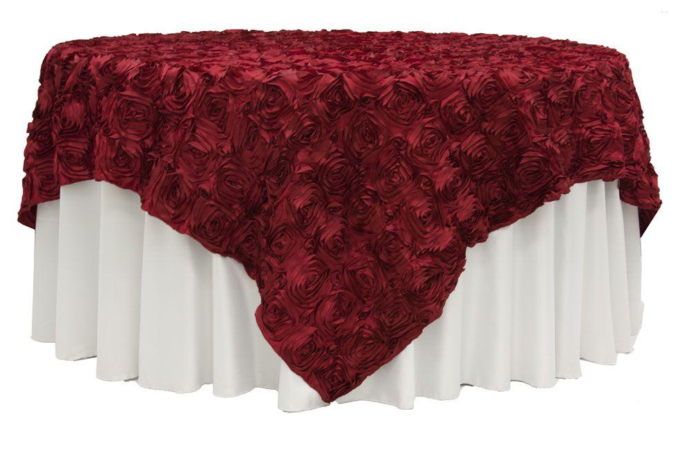 Rosette Satin Table Overlay Topper 85 X85 Apple Red Table