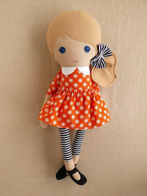 Fabric Doll Rag Doll Blond Haired Girl in Orange by rovingovine, $37.00