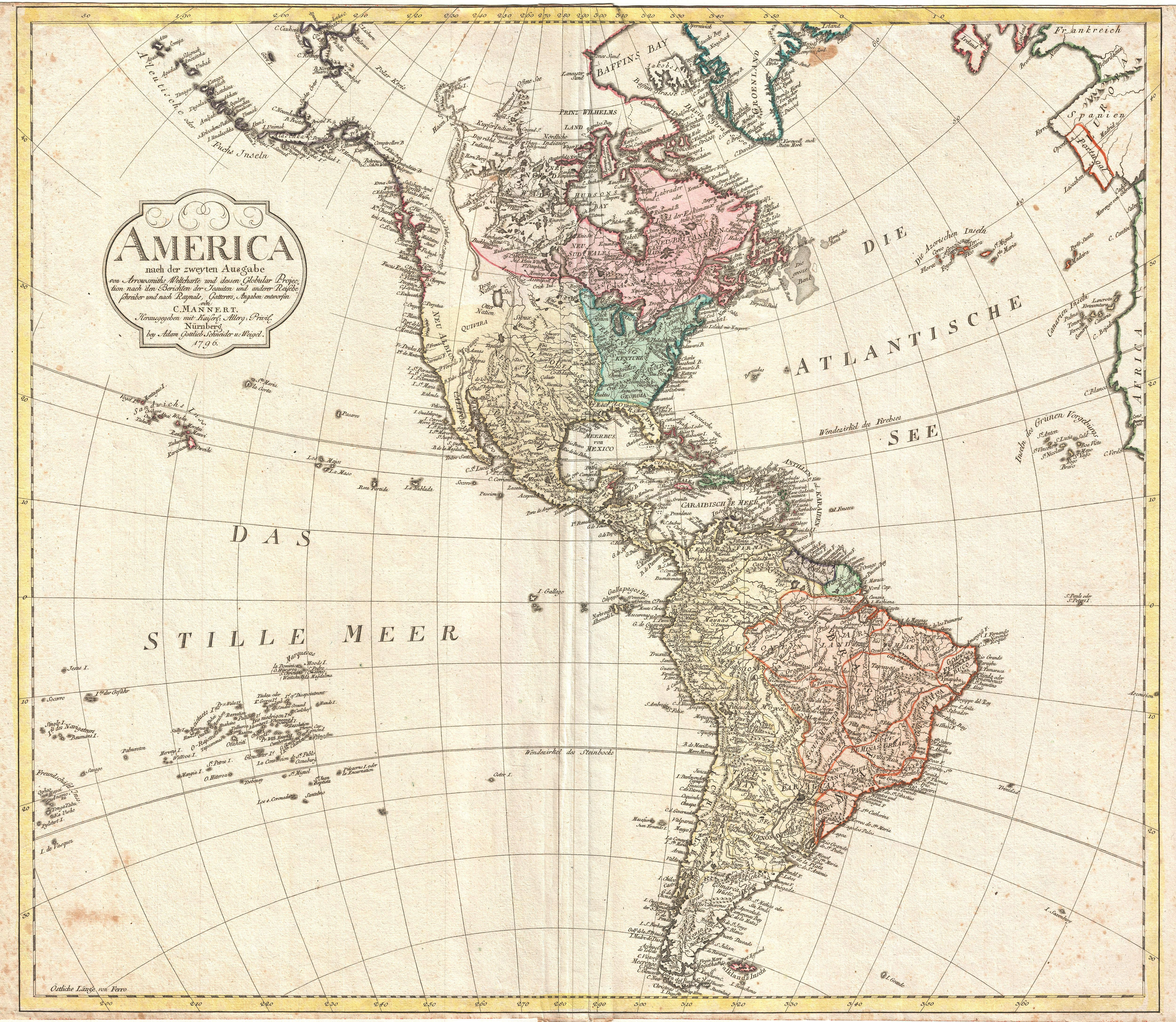 Antique Map Of North And South America