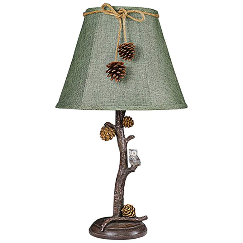 Pine Branch Accent Table Lamp With Owl And Pine Cones 31k17 Lamps Plus Lamp Accent Lamp Table Lamp