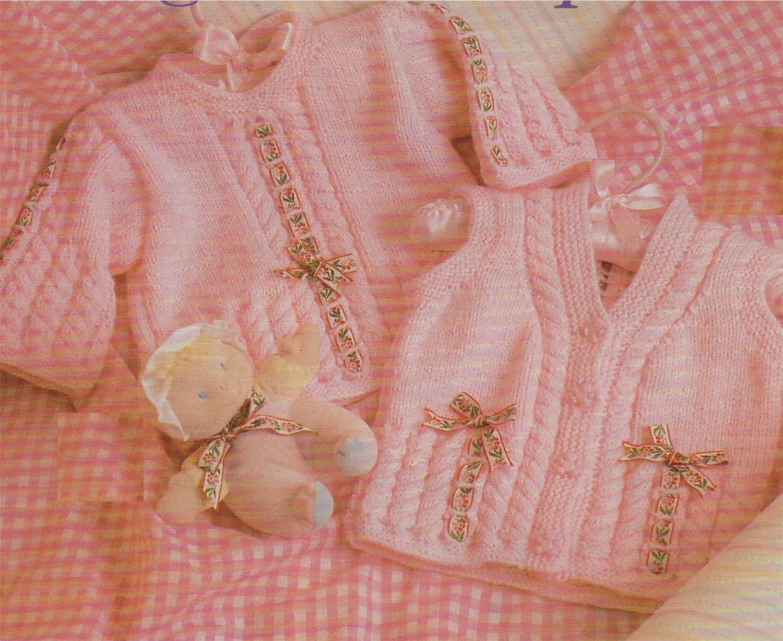 PDF Baby Girl Sweater and Waistcoat Knitting Pattern : Babies 18, 20 ...