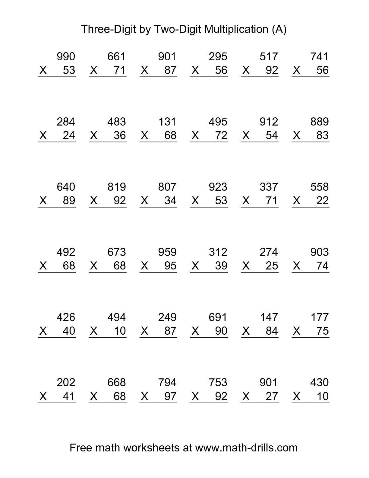 The Multiplying Three-Digit by Two-Digit -- 36 per page (A) math ...