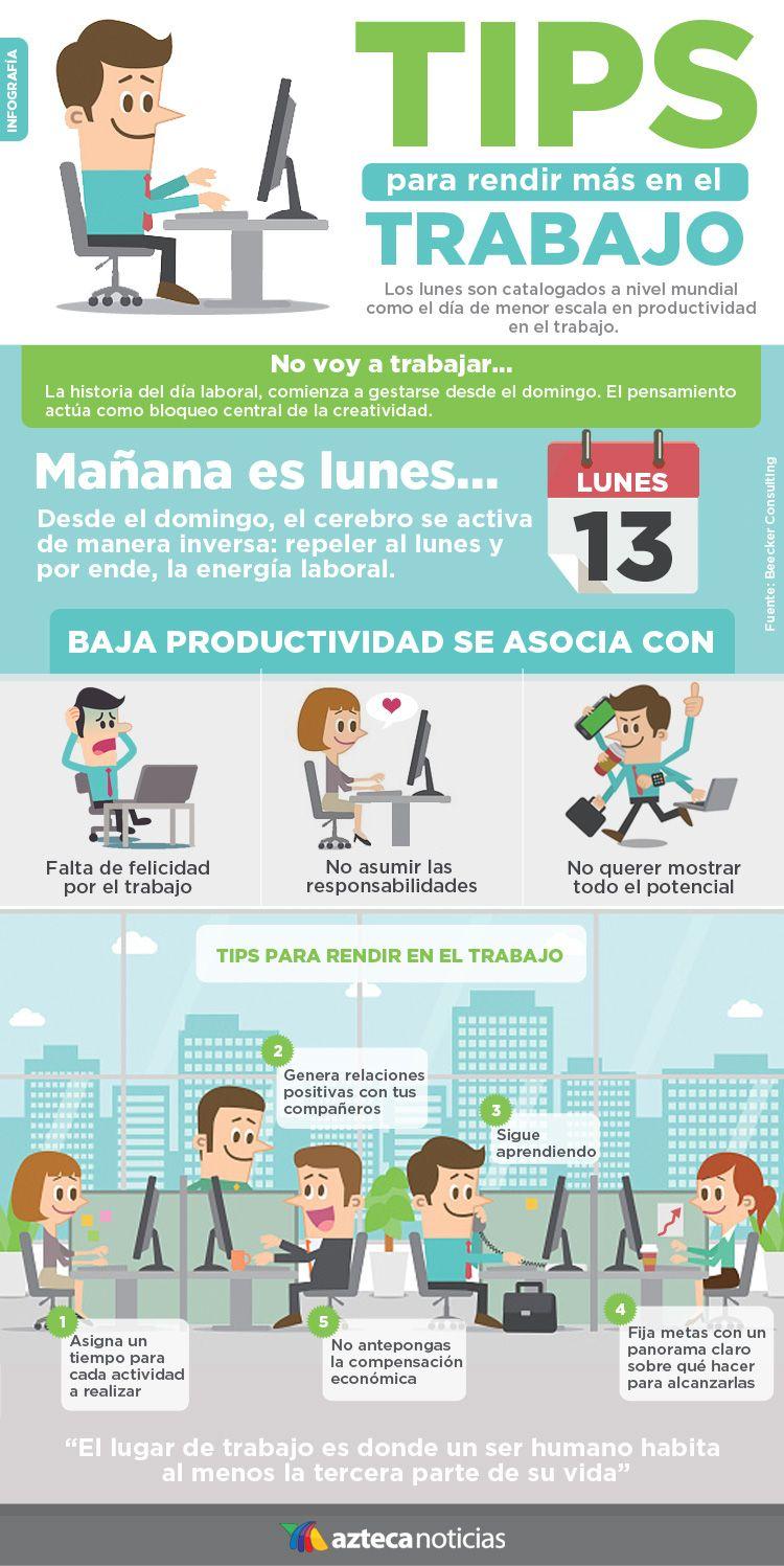 Tips para rendir más en el trabajo #infografia