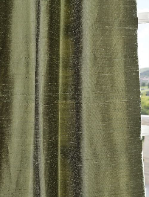 Restful Green Textured Dupioni Silk Curtain For Master With Khaki Walls Dining Room
