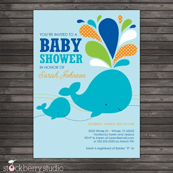Blue Whale Baby Shower DIY Printable by stockberrystudio on Etsy