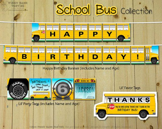 School Bus Collection Print At Home Wheels On The Bus Party
