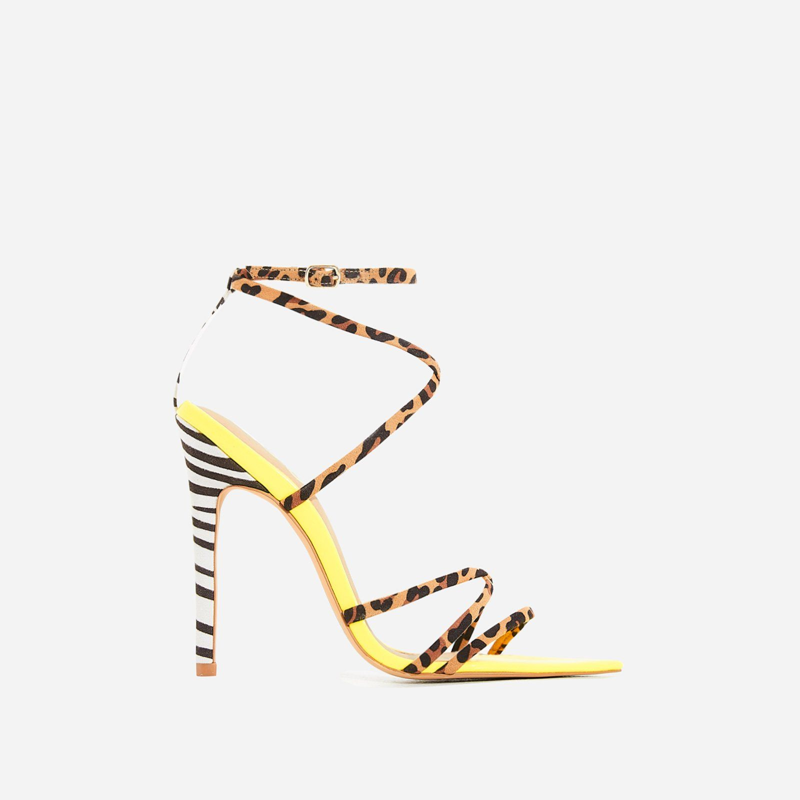 4769dcd72725 Raja Animal Print Pointed Barely There Heel In Yellow Patent | Fly ...