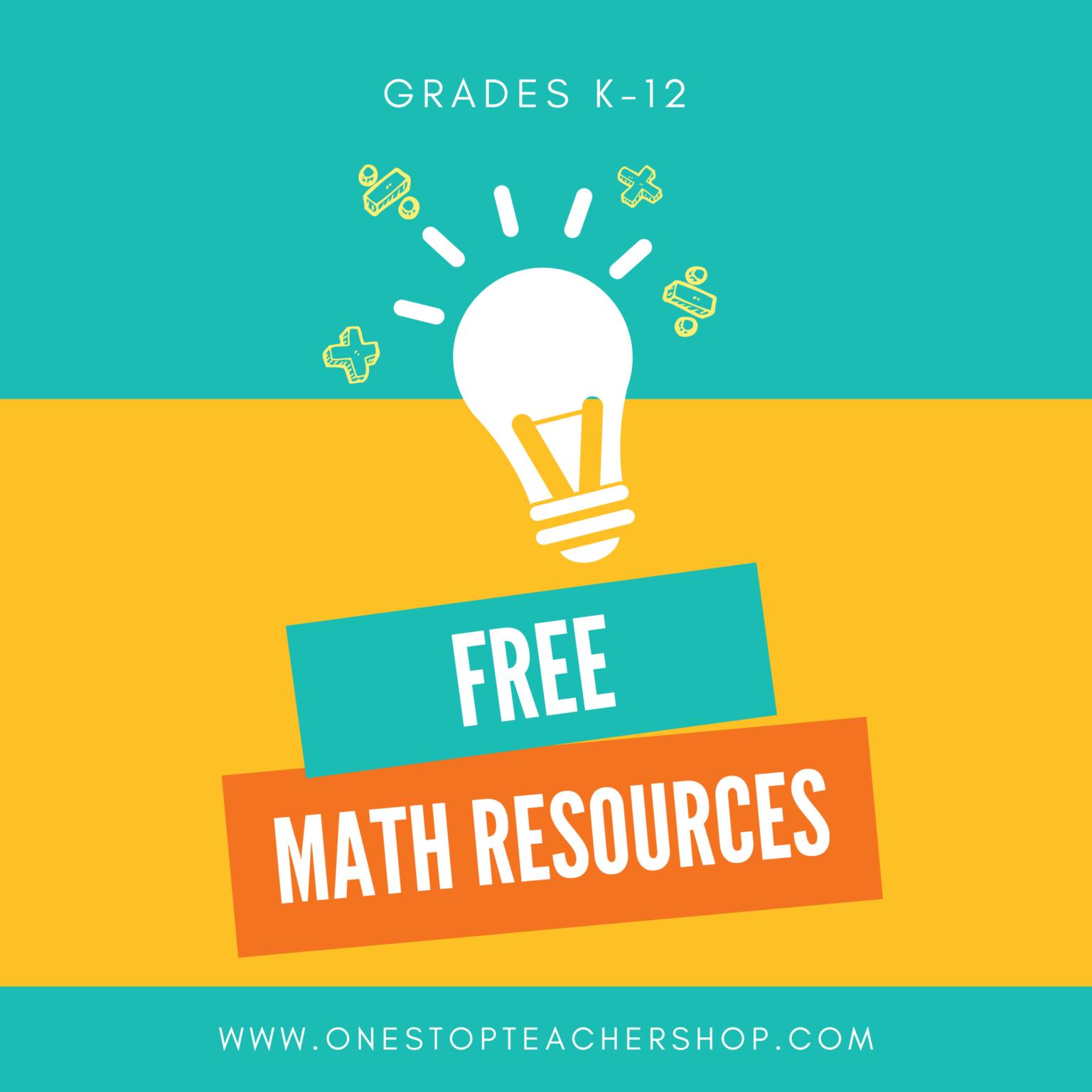 FREE Math Resources for Teachers One Stop Teacher Shop