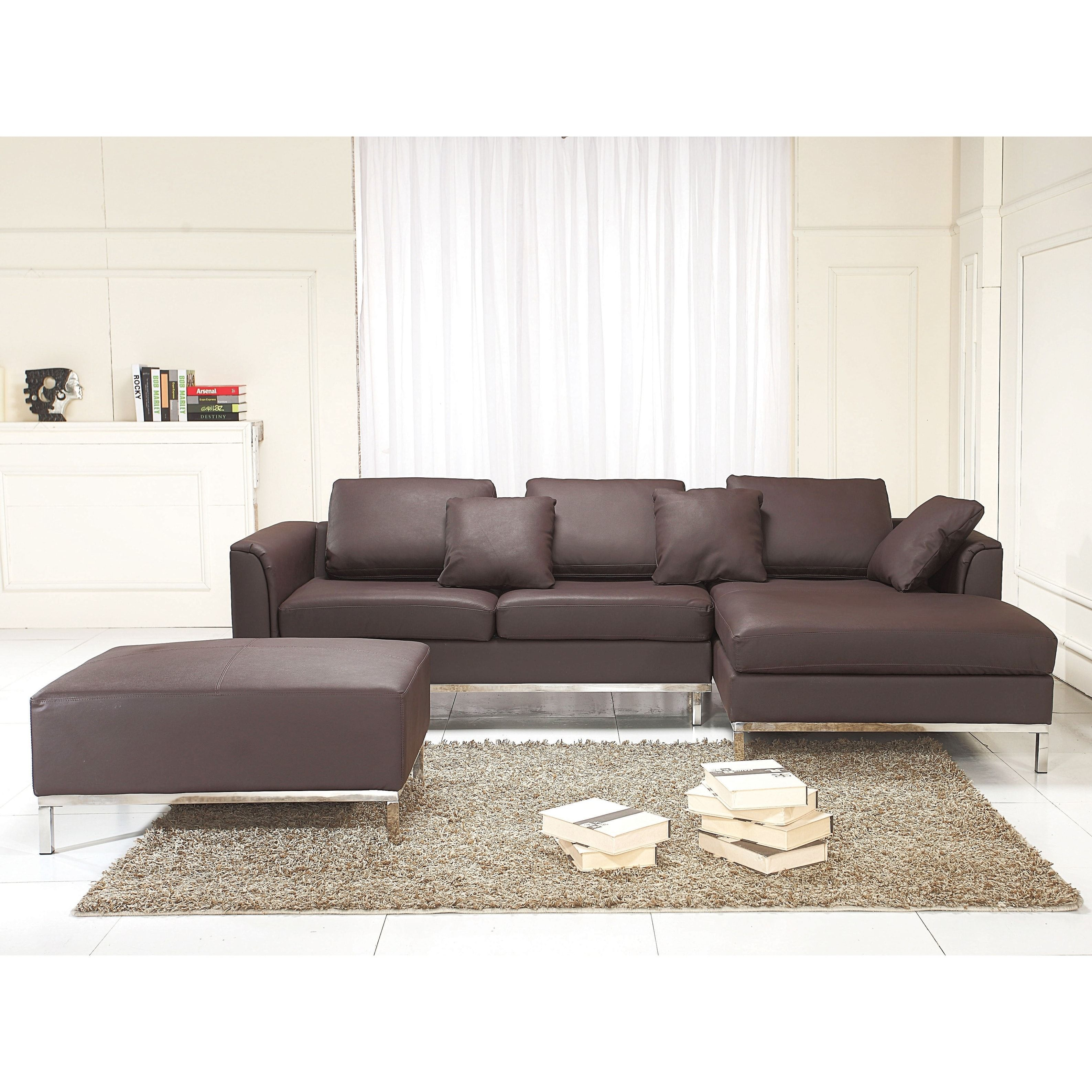 Strange Beliani Oslo Brown Leather Sectional Sofa With Ottoman Gmtry Best Dining Table And Chair Ideas Images Gmtryco