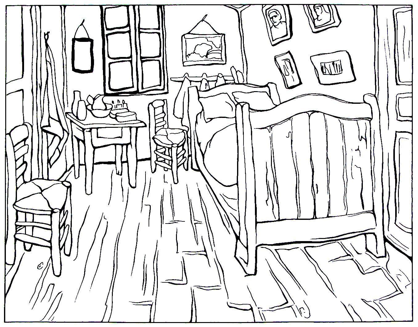 Van Gogh Bedroom Impressionist Painting By Vincent Van Gogh Printable Coloring Book Page Sanat Elestirisi Boyama Sayfalari Boyama Kitaplari