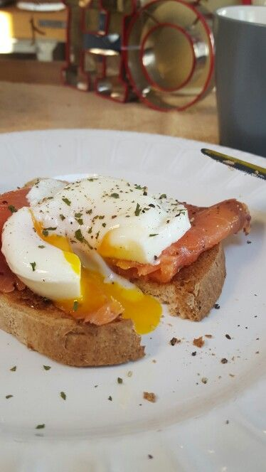 Smoked salmon and poached egg on gluten free toast