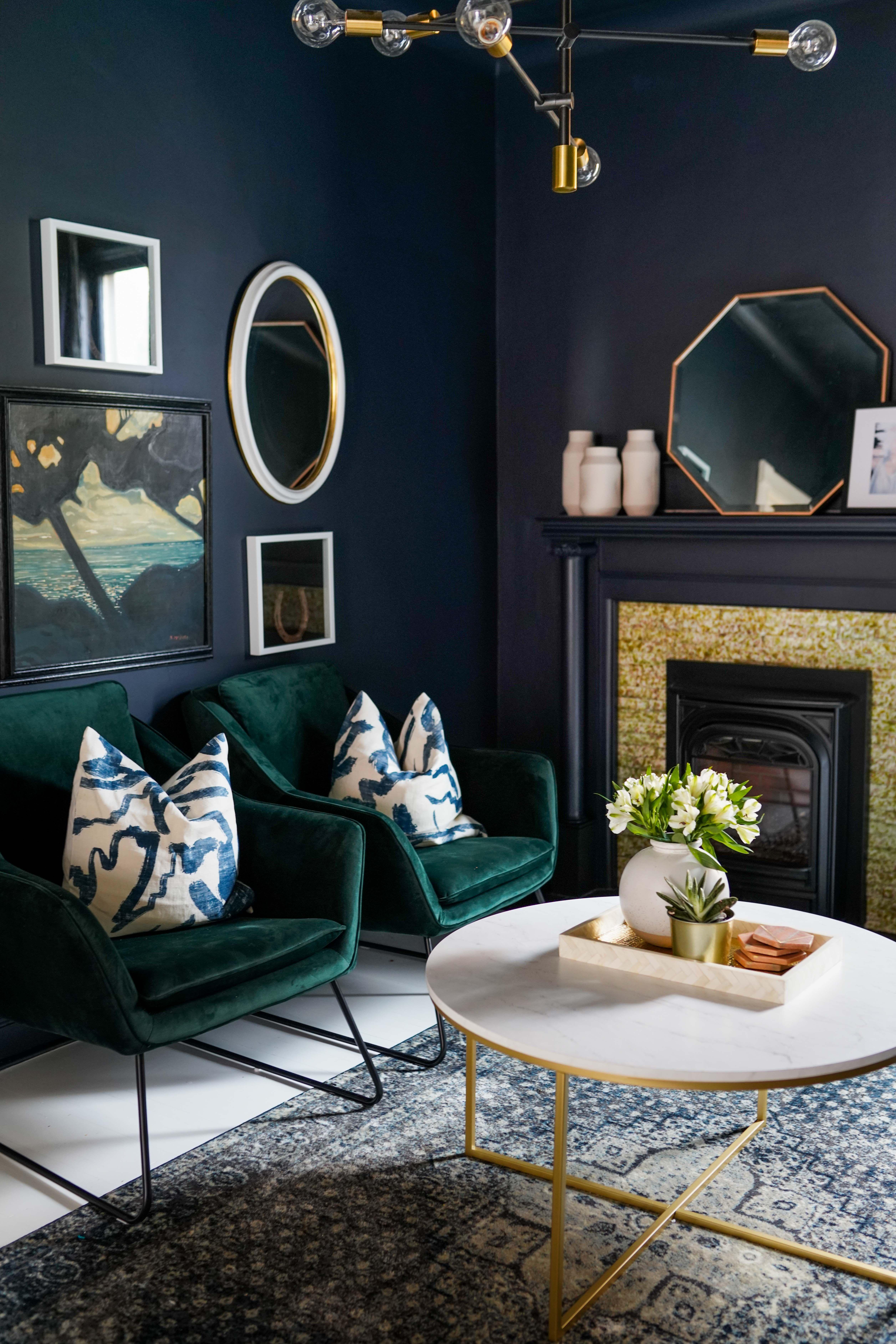 Bedroom Creator Online: Benjamin Moore Soot Walls And Green Velvet Chairs Create A