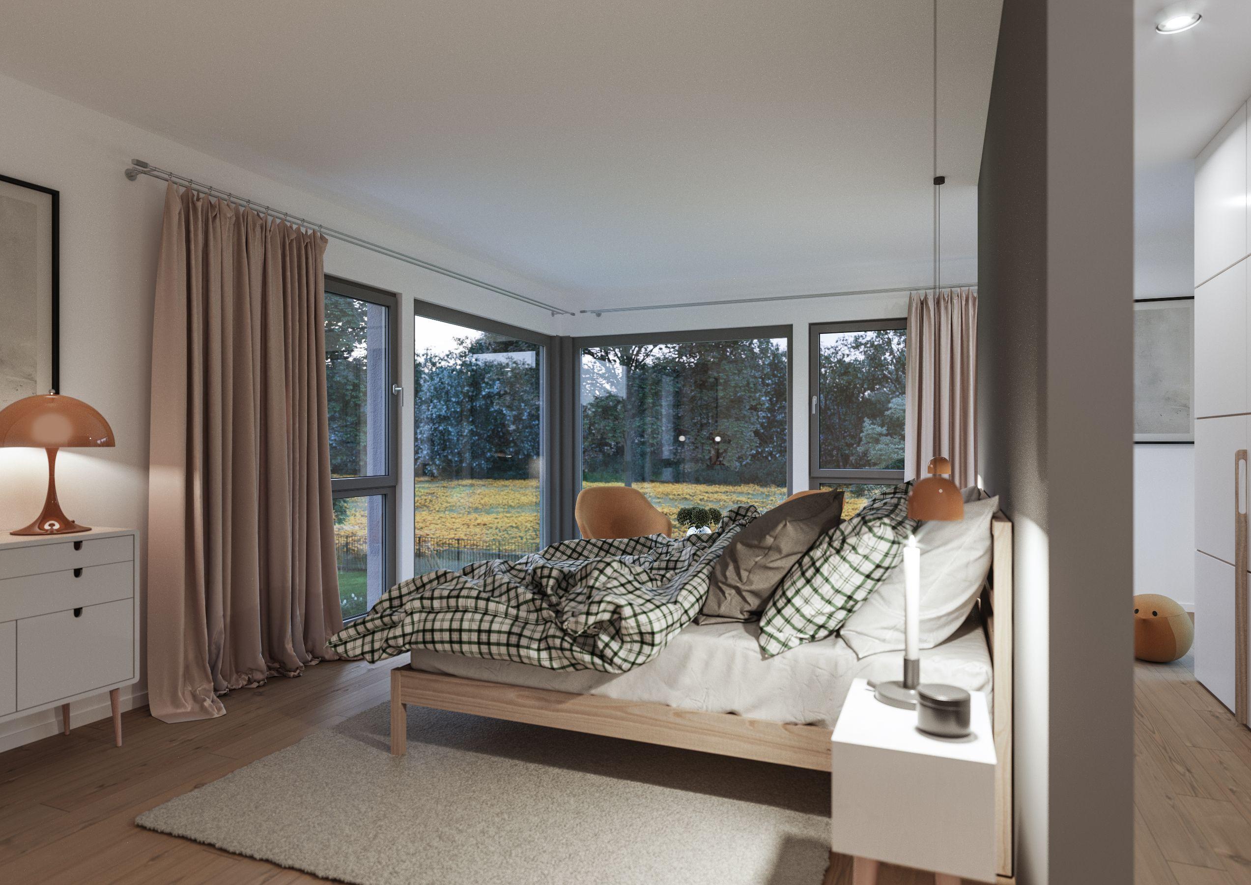 Schön Fensterfront Ideen Von Vom Bett Aus Schweift Der Blick Durch