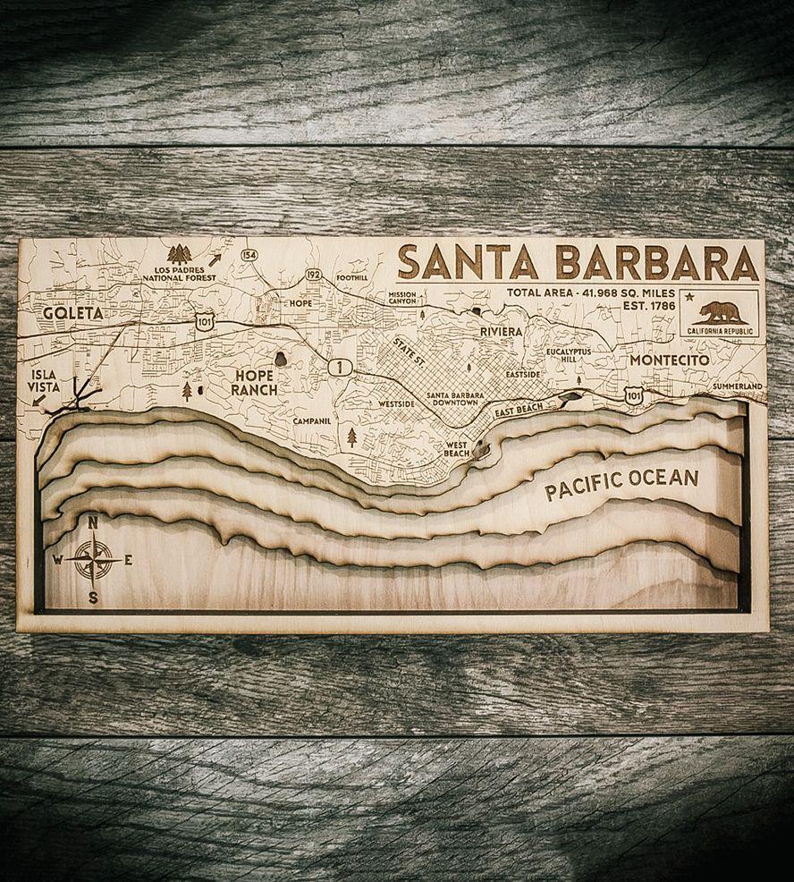 Santa Barbara Carved Wood Map Santa Barbara