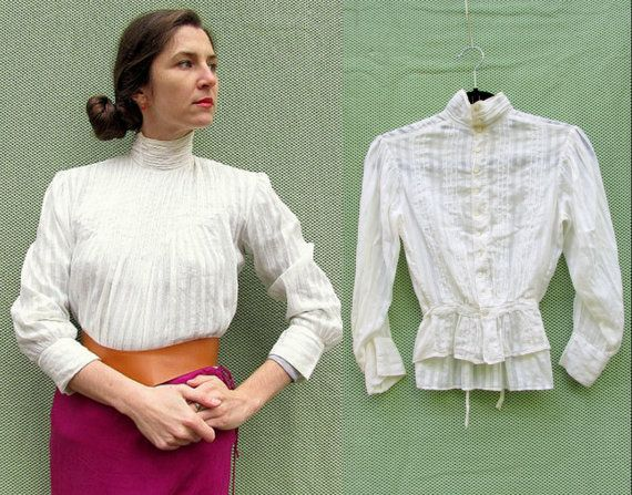 Antique Victorian Blouse 1890s High Neckline With Ivory Collar