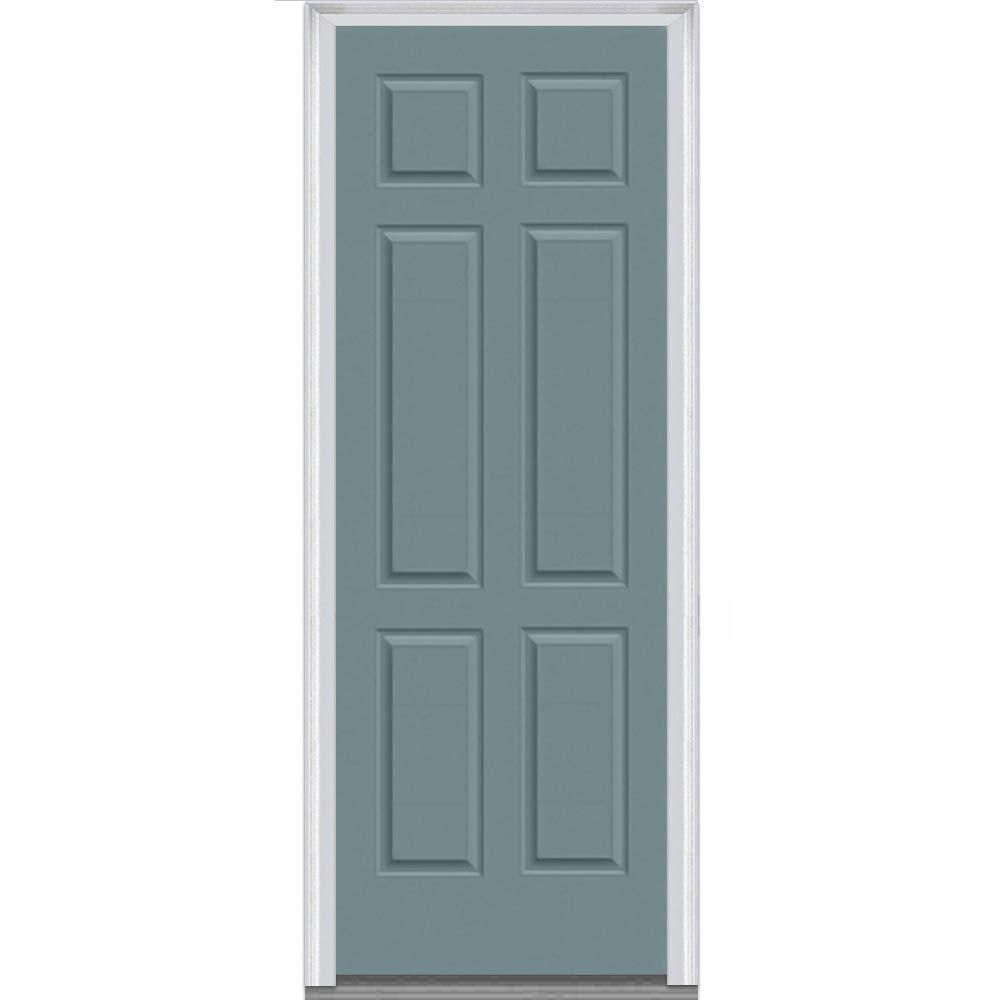 Milliken Millwork 37.5 In. X 97.75 In. 6 Panel Painted Majestic Steel Exterior  Door