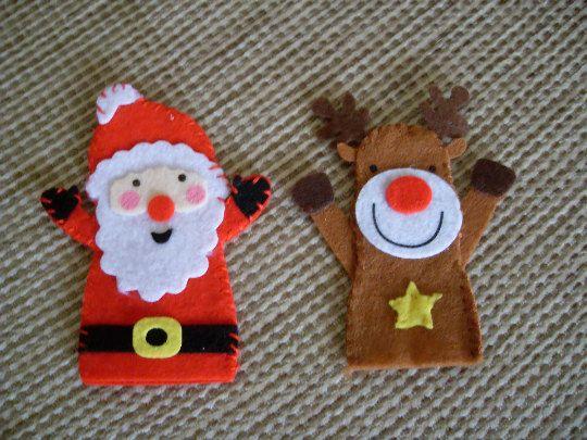 Fieltro Juego De Marionetas De Dedo De Navidad 2 Reno Y Santa