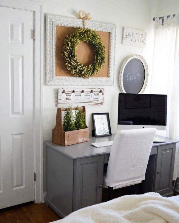 100 Charming Farmhouse Office Decor Ideas For Your Home Home Office Decor Home Decor Home Office Furniture