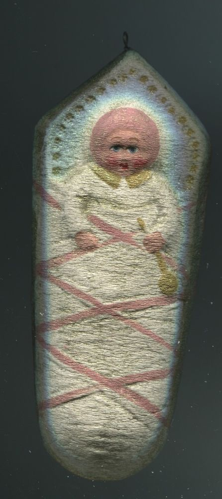 Weihnachtsschmuck Christbaumschmuck Pappe rosa Fatschenbaby Baby süüß+Glimmer