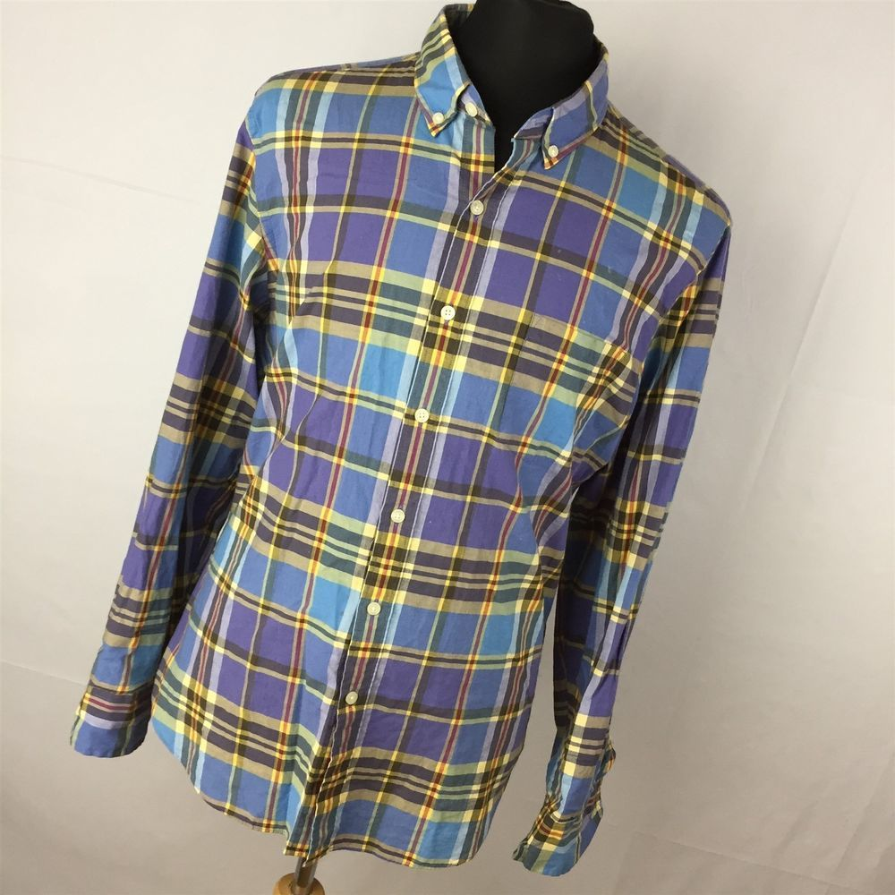 Purple flannel men  J Crew L Large Shirt Summer Plaid Blue Yellow Tailored Blue Yellow